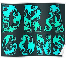 How Many Dragons - Blue Poster