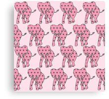 Pink Polka Dotted Elephants Canvas Print