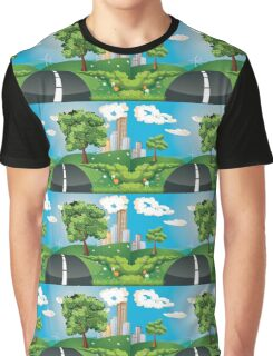 Green Field and City Graphic T-Shirt