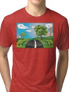 Green Field and City Tri-blend T-Shirt
