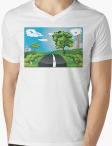 Green Field and City Mens V-Neck T-Shirt
