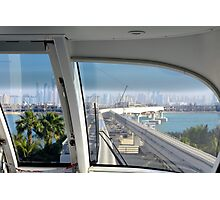 Photography of skyline from Dubai seen from the interior of the metro from palm island, United Arab Emirates. Photographic Print