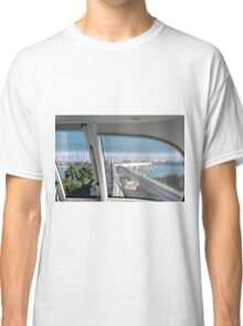 Photography of skyline from Dubai seen from the interior of the metro from palm island, United Arab Emirates. Classic T-Shirt