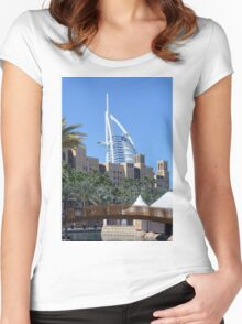 Photography of Arabic buildings and wooden bridge in front of Burj al Arab hotel from Dubai, United Arab Emirates. Women's Fitted Scoop T-Shirt