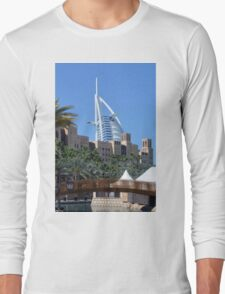 Photography of Arabic buildings and wooden bridge in front of Burj al Arab hotel from Dubai, United Arab Emirates. Long Sleeve T-Shirt