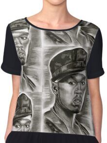 50 cent in black and white Chiffon Top