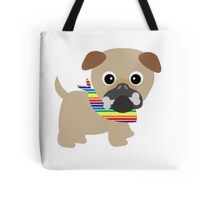 Gay Pride Pug with Bone in Mouth Tote Bag