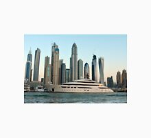 Photography skyscrapers skyline from Marina and sail boats from Dubai, United Arab Emirates. Unisex T-Shirt