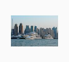 13 March 2016. Photography skyscrapers skyline from Marina and sail boats from Dubai, United Arab Emirates. Unisex T-Shirt