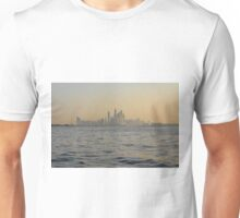 13 March 2016. Photography of skyscrapers skyline from the water at dawn from Dubai, United Arab Emirates. Unisex T-Shirt
