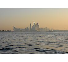 13 March 2016. Photography of skyscrapers skyline from the water at dawn from Dubai, United Arab Emirates. Photographic Print