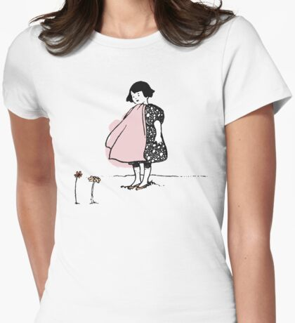Flower Girl - Victorian illustration Womens Fitted T-Shirt