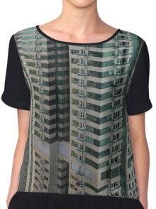 13 March 2016. Photography of pattern created from the facade with windows and balconies from skyscrapers from Dubai, United Arab Emirates. Chiffon Top