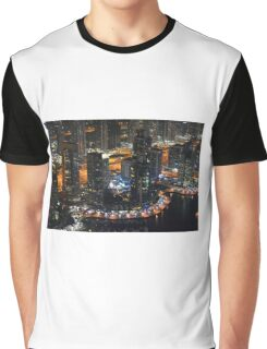 13 March 2016. Photography of tall buildings in Marina Bay at night from Dubai, United Arab Emirates. Graphic T-Shirt