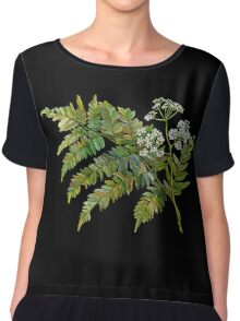 Watercolor fern and flowers Chiffon Top