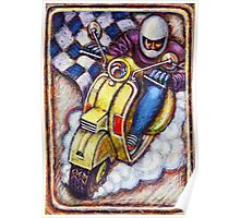 Yellow Vespa Scooter wins Poster