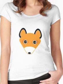 Cute fox face pattern Women's Fitted Scoop T-Shirt