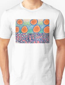 Seven Red Circles Many Brown Dots T-Shirt