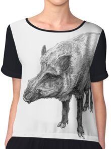 Wild boar illustration Chiffon Top