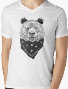 Wild bear Mens V-Neck T-Shirt