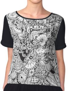 Black and white zentangle inspired art, Detailed rectangle, b&w doodle Chiffon Top