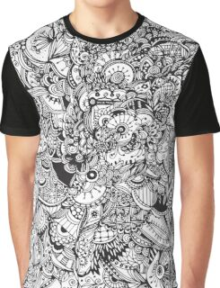 Black and white zentangle inspired art, Detailed rectangle, b&w doodle Graphic T-Shirt