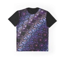 Blue and Purple Stained Glass Fractal Graphic T-Shirt