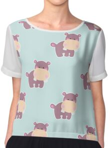 Pattern with a cute baby hippo Chiffon Top