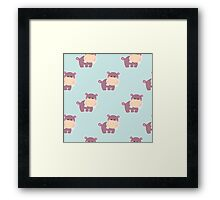 Pattern with a cute baby hippo Framed Print