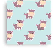 Pattern with a cute baby hippo Canvas Print