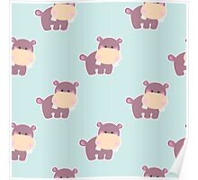 Pattern with a cute baby hippo Poster