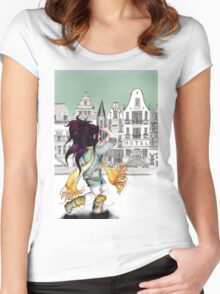 Viola is enjoying beautiful places in the city... Women's Fitted Scoop T-Shirt