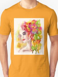 Spring woman.  watercolor, Unisex T-Shirt