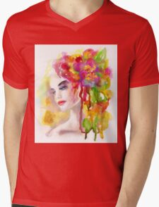 Spring woman.  watercolor, Mens V-Neck T-Shirt
