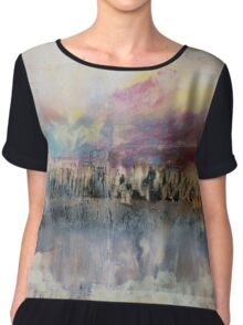Creamy Sky and Earth, Pastel Encaustic Landscape Chiffon Top
