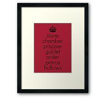 Harry Potter Book Titles Framed Print