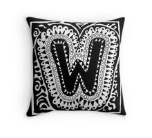 Initial W Black and White Throw Pillow