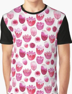 Fancy Pink Flowers Graphic T-Shirt