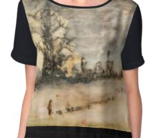 Moody Landscape with Tree Chiffon Top