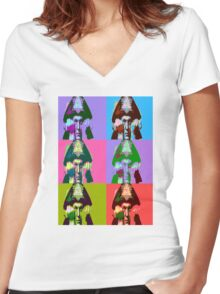 Aleister Crowley Pop Art Women's Fitted V-Neck T-Shirt