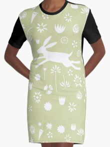 Hare in the Meadow Graphic T-Shirt Dress