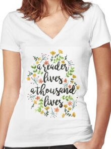 A Thousand Lives  Women's Fitted V-Neck T-Shirt