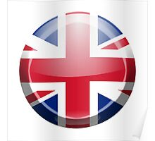 BRITISH, Union Jack, Button, Circle, British Flag, UK, United Kingdom, Pure & simple Poster