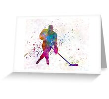 Hockey man player 03 in watercolor Greeting Card