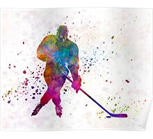 Hockey man player 03 in watercolor Poster