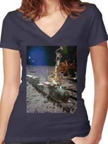 Moon Express Women's Fitted V-Neck T-Shirt