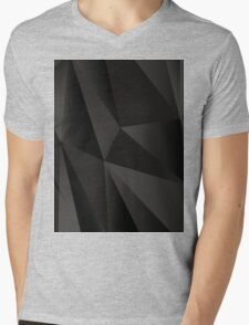 Origami Black abstract fractal texture Mens V-Neck T-Shirt