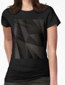 Origami Black abstract fractal texture Womens Fitted T-Shirt