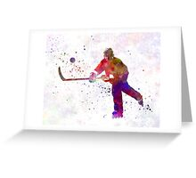 Hockey man player 04 in watercolor Greeting Card
