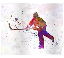 Hockey man player 04 in watercolor Poster
